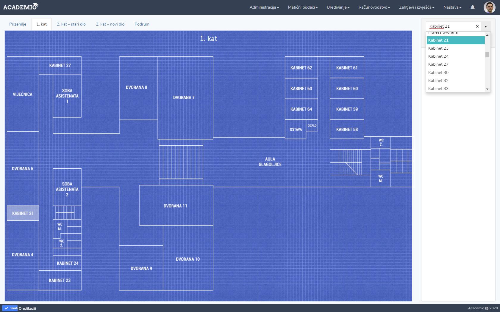 Academio - karta dvorana i kabineta